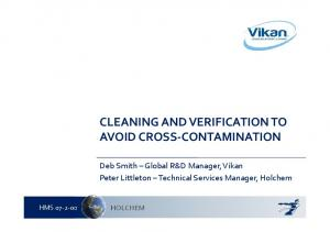 CLEANING AND VERIFICATION TO AVOID CROSS CONTAMINATION