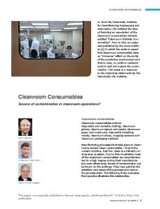Cleanroom Consumables