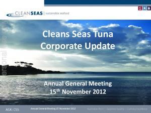 Cleans Seas Tuna Corporate Update