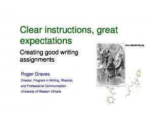 Clear instructions, great expectations