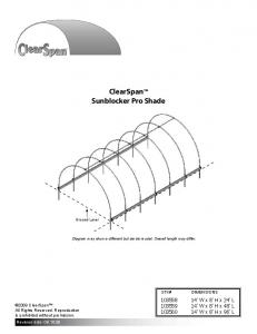 ClearSpan Sunblocker Pro Shade
