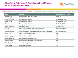 ClearView Retirement Plan Executive Officers as at 14 December 2016