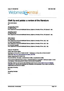 Cleft lip and palate: a review of the literature