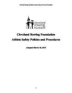 Cleveland Rowing Foundation Athlete Safety Policies and Procedures. Cleveland Rowing Foundation Athlete Safety Policies and Procedures