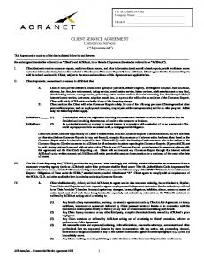 CLIENT SERVICE AGREEMENT Commercial Services ( Agreement )
