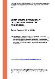 CLIMA SOCIAL EMOCIONAL Y CRITERIOS DE BIENESTAR PSICOSOCIAL