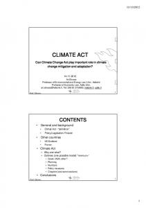 CLIMATE ACT. Can Climate Change Act play important role in climate change mitigation and adaptation?