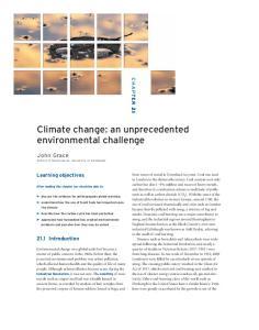 Climate change: an unprecedented environmental challenge