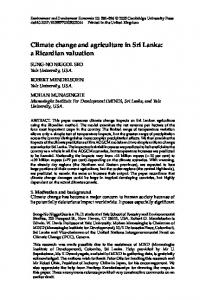 Climate change and agriculture in Sri Lanka: a Ricardian valuation
