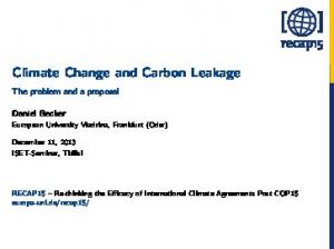 Climate Change and Carbon Leakage