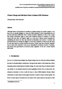 Climate Change and Individual Duties to Reduce GHG Emissions