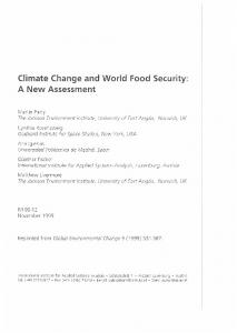 Climate Change and World Food Security: A New Assessment