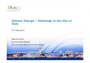 Climate Change Challenge to the City of