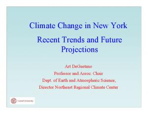 Climate Change in New York Recent Trends and Future Projections