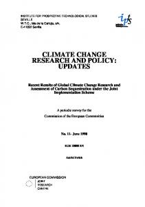CLIMATE CHANGE RESEARCH AND POLICY: UPDATES