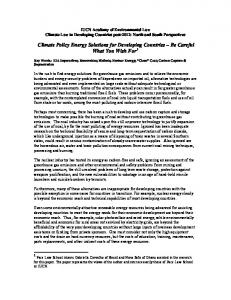 Climate Policy Energy Solutions for Developing Countries Be Careful What You Wish For 1