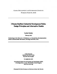 Climate-Resilient Industrial Development Paths: Design Principles and Alternative Models