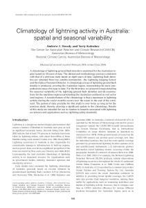 Climatology of lightning activity in Australia: spatial and seasonal variability