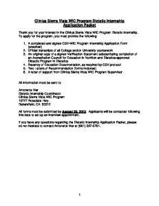 Clinica Sierra Vista WIC Program Dietetic Internship Application Packet