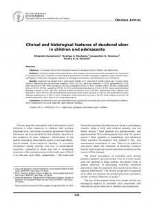 Clinical and histological features of duodenal ulcer in children and adolescents