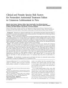 Clinical and Parasite Species Risk Factors for Pentavalent Antimonial Treatment Failure in Cutaneous Leishmaniasis in Peru