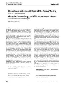 Clinical Application and Effects of the Forsus TM Spring A Study of a New Herbst Hybrid