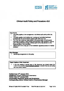 Clinical Audit Policy and Procedure v3.0