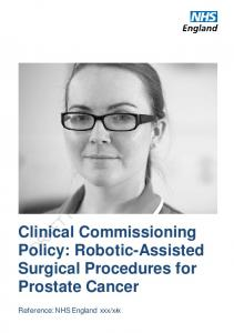 Clinical Commissioning Policy: Robotic-Assisted Surgical Procedures for Prostate Cancer