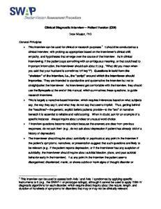 Clinical Diagnostic Interview Patient Version (CDI)