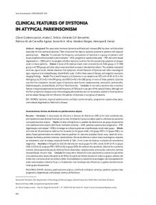 Clinical features of Dystonia in Atypical Parkinsonism