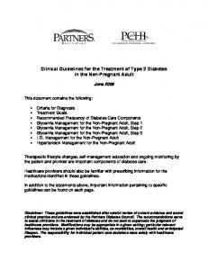 Clinical Guidelines for the Treatment of Type 2 Diabetes in the Non-Pregnant Adult