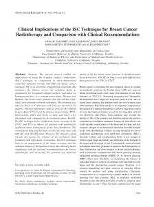 Clinical Implications of the ISC Technique for Breast Cancer Radiotherapy and Comparison with Clinical Recommendations