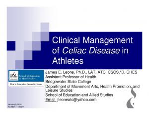 Clinical Management of Celiac Disease in Athletes
