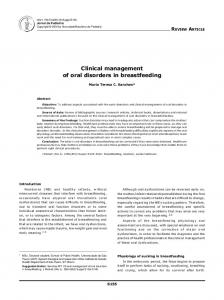 Clinical management of oral disorders in breastfeeding