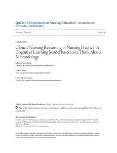 Clinical Nursing Reasoning in Nursing Practice: A Cognitive Learning Model based on a Think Aloud Methodology