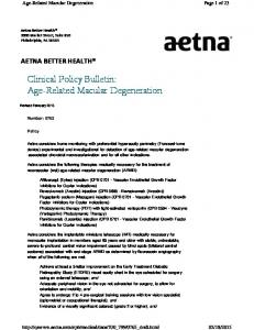 Clinical Policy Bulletin: Age-Related Macular Degeneration
