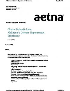 Clinical Policy Bulletin: Alzheimer's Disease: Experimental Treatments
