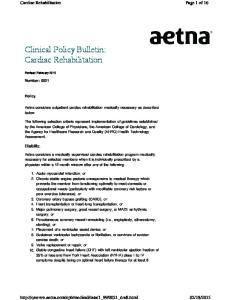 Clinical Policy Bulletin: Cardiac Rehabilitation