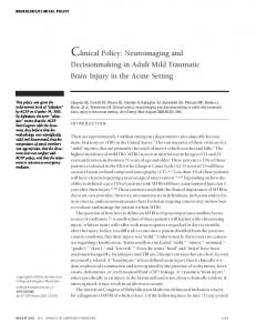 Clinical Policy: Neuroimaging and Decisionmaking in Adult Mild Traumatic Brain Injury in the Acute Setting