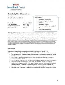 Clinical Policy Title: Chiropractic care
