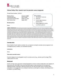 Clinical Policy Title: Genetic tests for prostate cancer prognosis