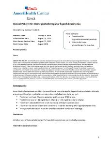 Clinical Policy Title: Home phototherapy for hyperbilirubinemia