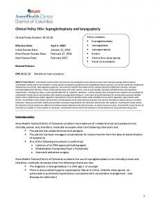 Clinical Policy Title: Supraglottoplasty and laryngoplasty