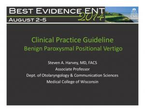 Clinical Practice Guideline Benign Paroxysmal Positional Vertigo