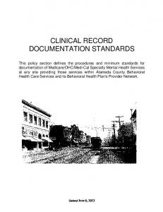 CLINICAL RECORD DOCUMENTATION STANDARDS