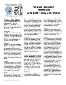 Clinical Research Abstracts: 2015 EMS Today Conference