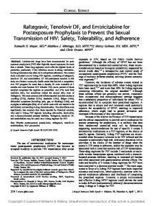 CLINICAL SCIENCE. Kenneth H. Mayer, MD,* Matthew J. Mimiaga, ScD, MPH,* Marcy Gelman, RN, MSN, MPH,* and Chris Grasso, MPH*