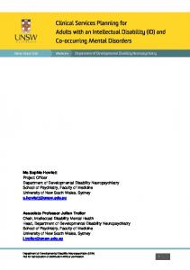 Clinical Services Planning for Adults with an Intellectual Disability (ID) and Co-occurring Mental Disorders