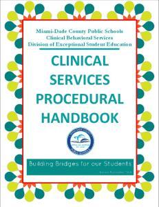 CLINICAL SERVICES PROCEDURAL HANDBOOK