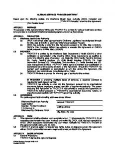 CLINICAL SERVICES PROVIDER CONTRACT